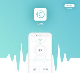 iCare Health Mobile App Concept in Photoshop