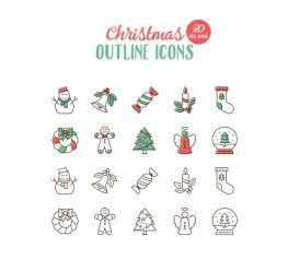 20 Christmas Outline Icons for Sketch