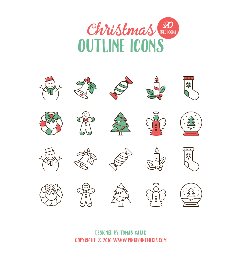 20 Christmas Outline Icons for Holiday Celebration