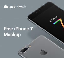 Silver and Black jet iphone 7 mockup free for psd and sketch
