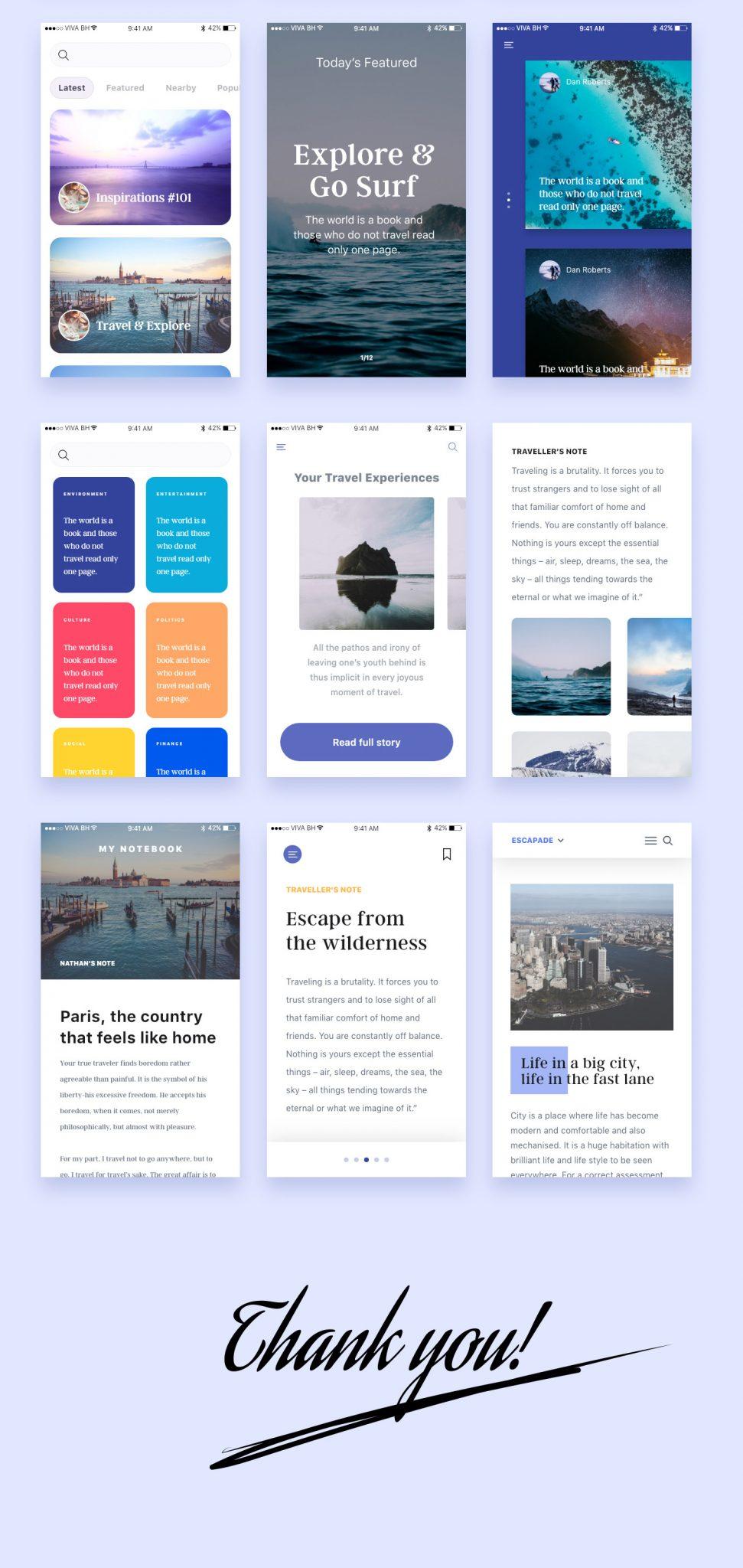20 Blog/Readers UI Kit for mobile Apps