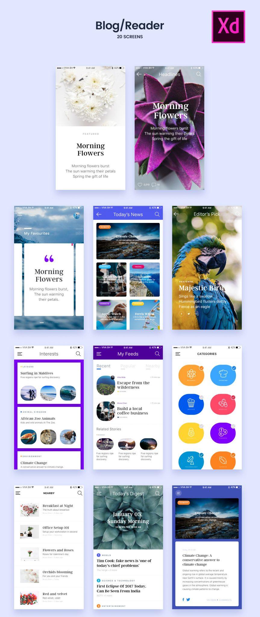 Freebie XD - Blog/Reader UI Screens Free Kit Screens