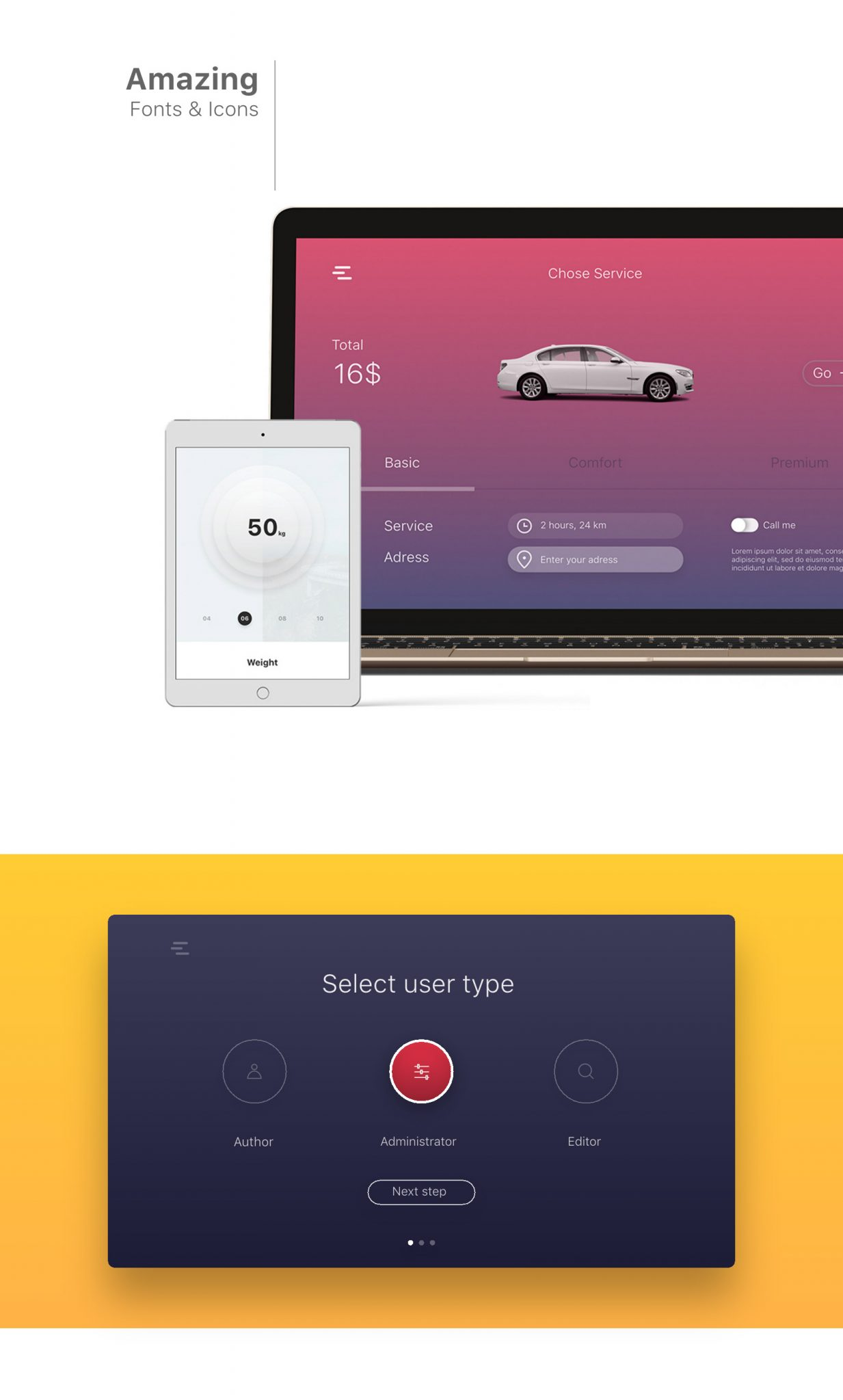 30 UI Kits with amazing fonts and colors for XD