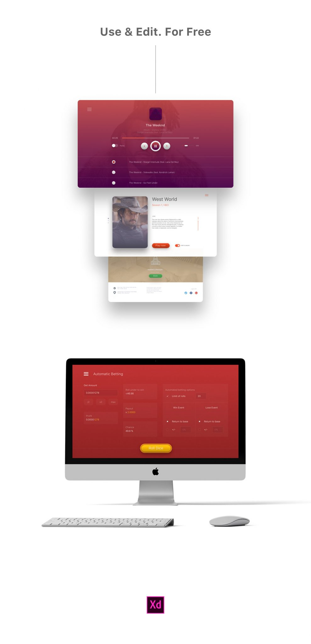 XD UI Kits for personal and commercial use for free