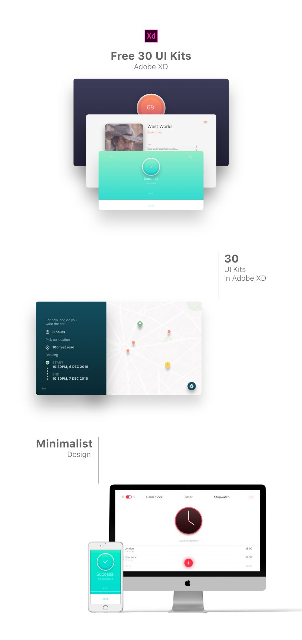 30 Minimal UI Kits Kits for XD Freebie - Modern Colors