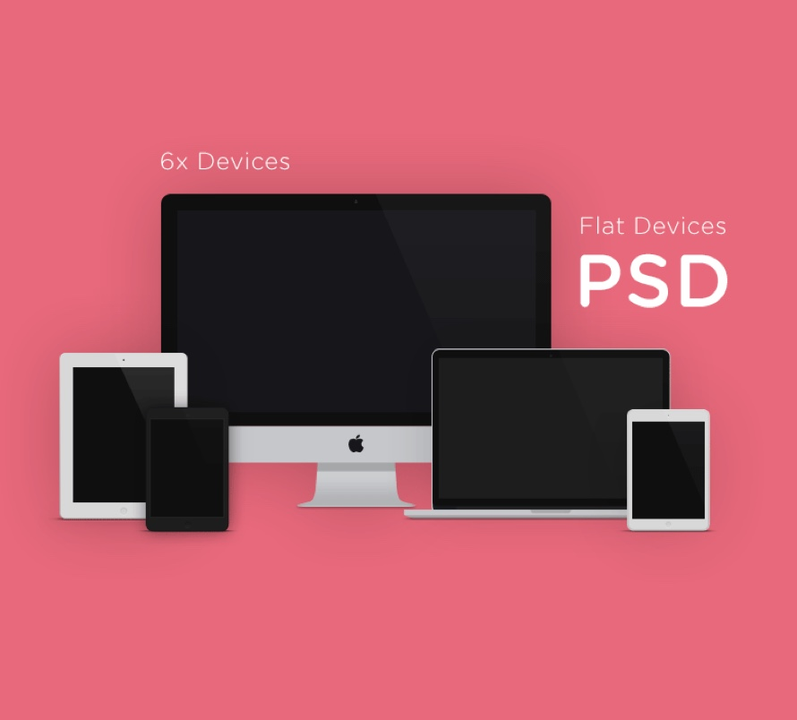 6x apple devices flat mockups for Photoshop