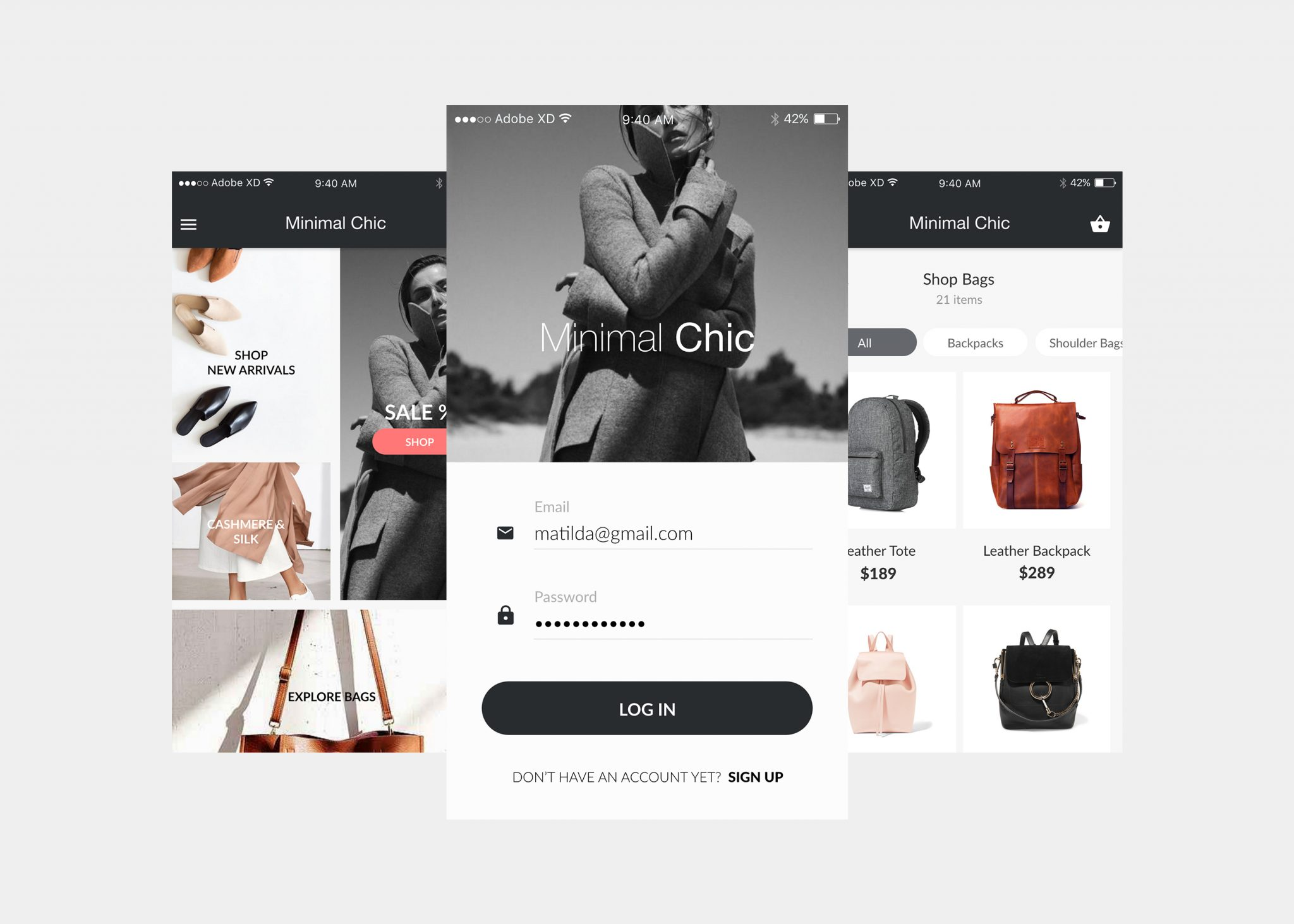 Minimal Chic E-commerce iOS UI Kit for iPhone6,7 Adobe XD