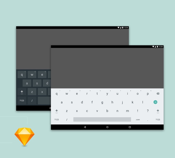 android tablet keyboard light and dark for sketch freebiesui