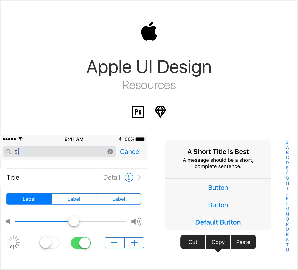 Apple GUI Resources for Photoshop CC and Sketch