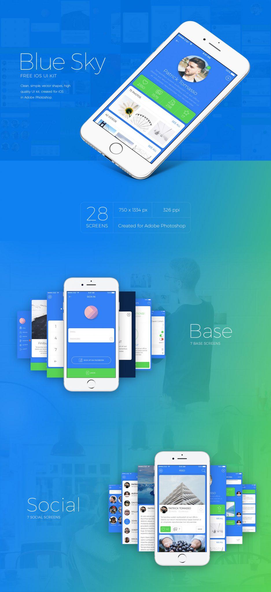 28 Screens Blue Sky App Design Concept For Photoshop Freebiesui