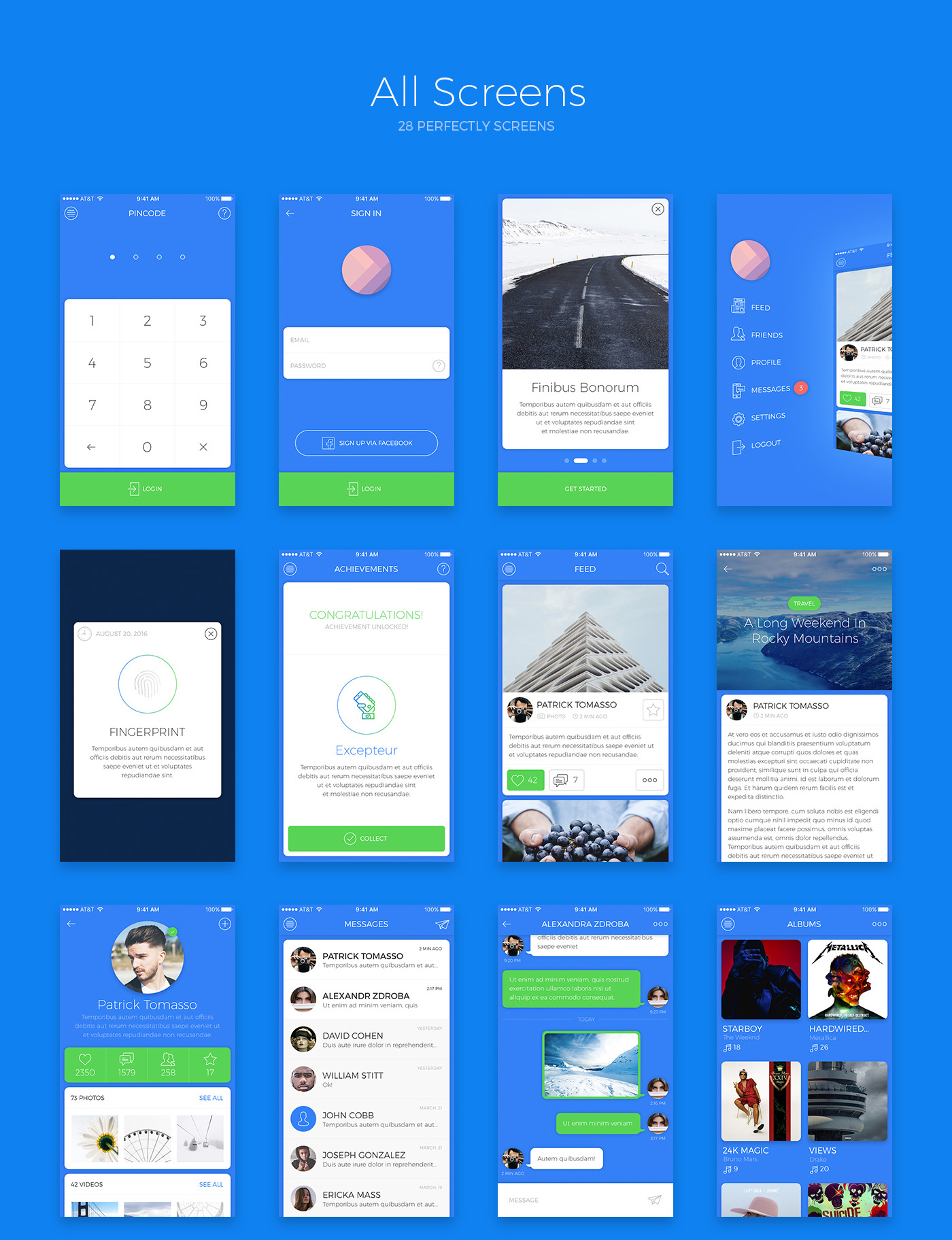 7 Social screens, 7 base screens, 7 main screens for iOS Free App