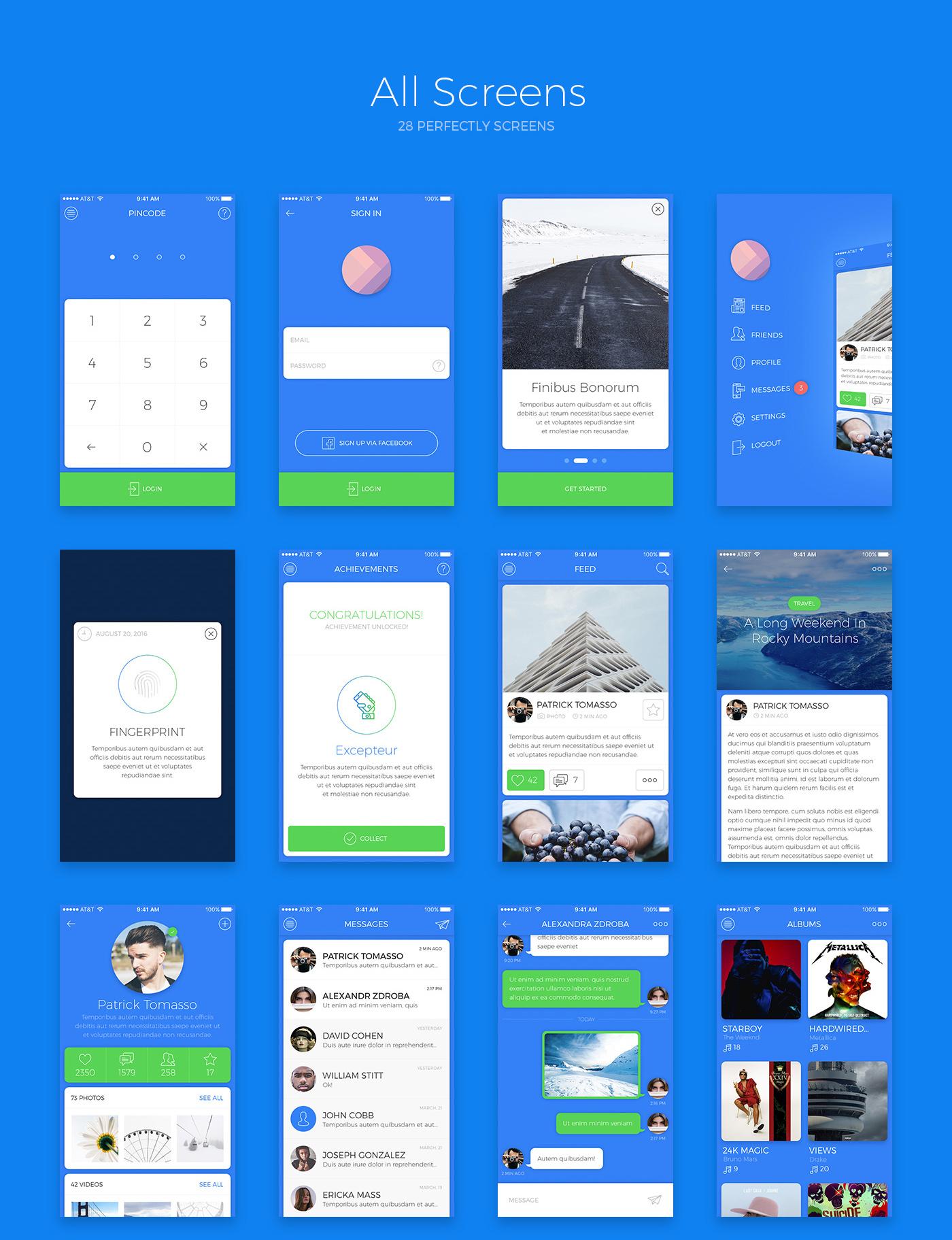 7 Social screens, 7 base screens, 7 main screens for iOS Free App