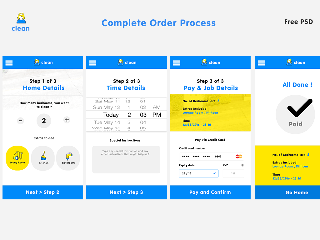 Cleaning Service App - Complete order process UI Kit