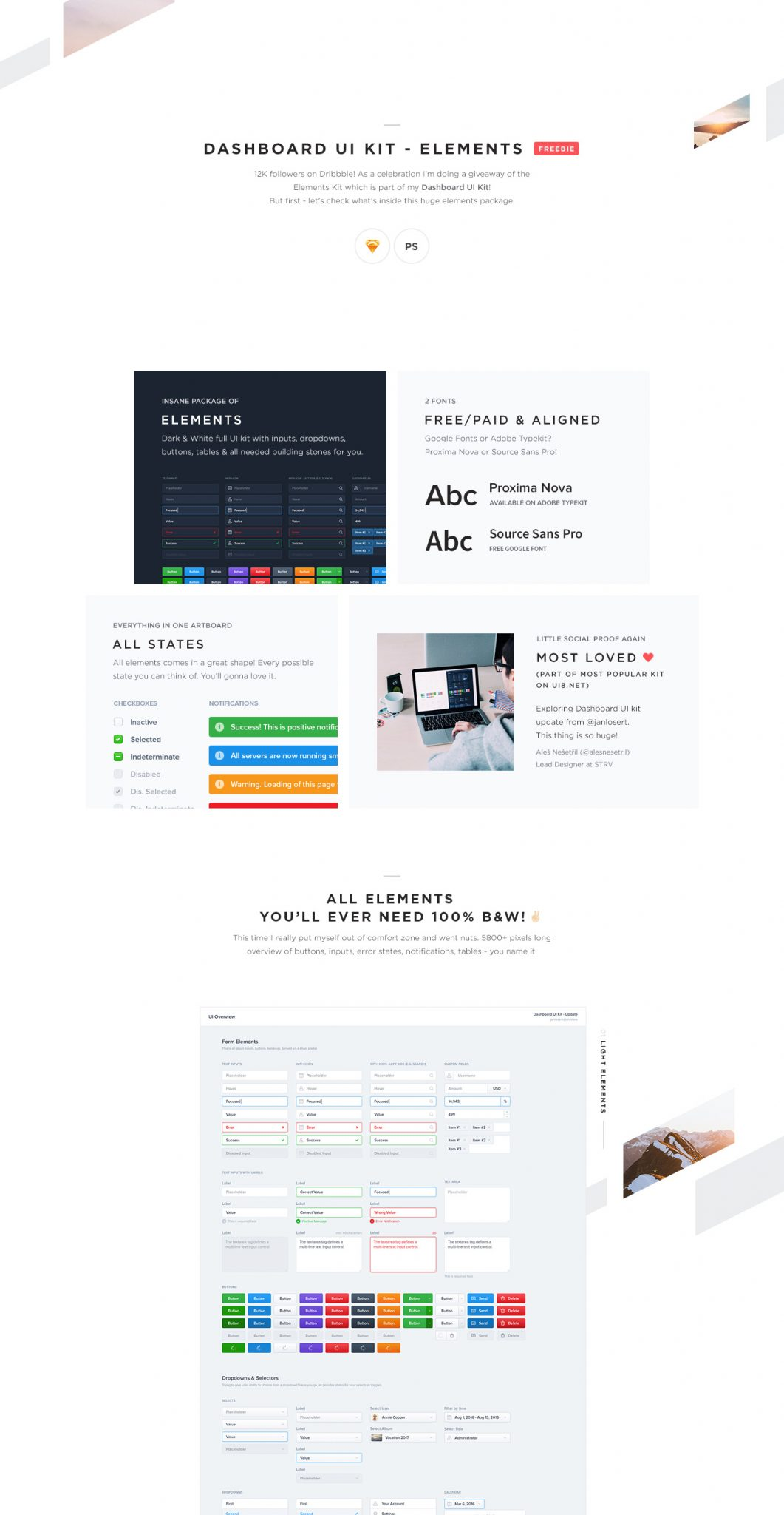 Pagination, Tables, Buttons, Inputs Dashboard elements UI Kit Freebies