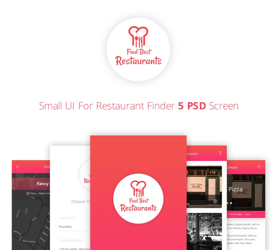 Find best restaurants ui kit psd screens ux freebiesui
