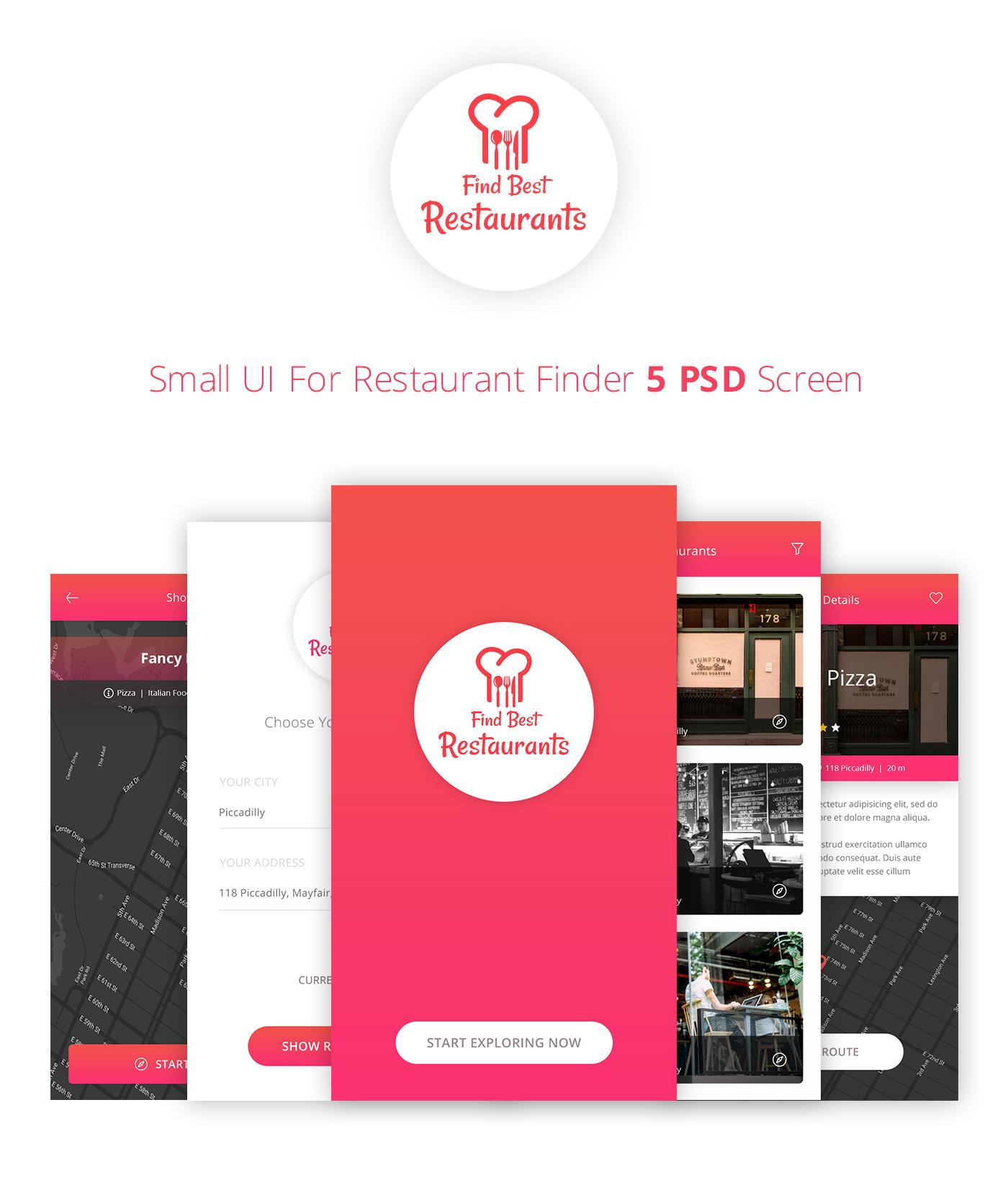 Restaurant Finder - Food UI Kit app design in PSD