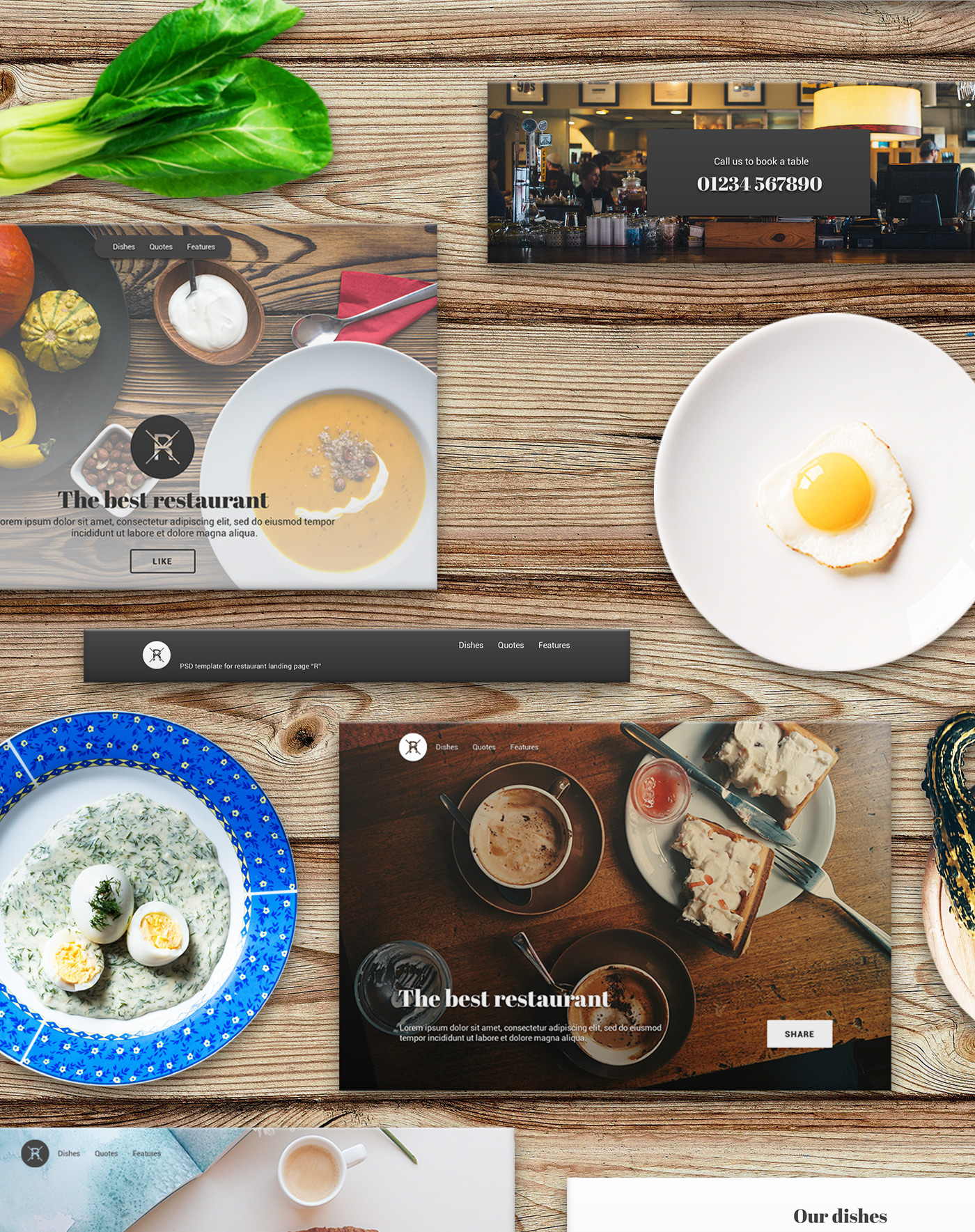 37 psd block Restaurant Website Kit