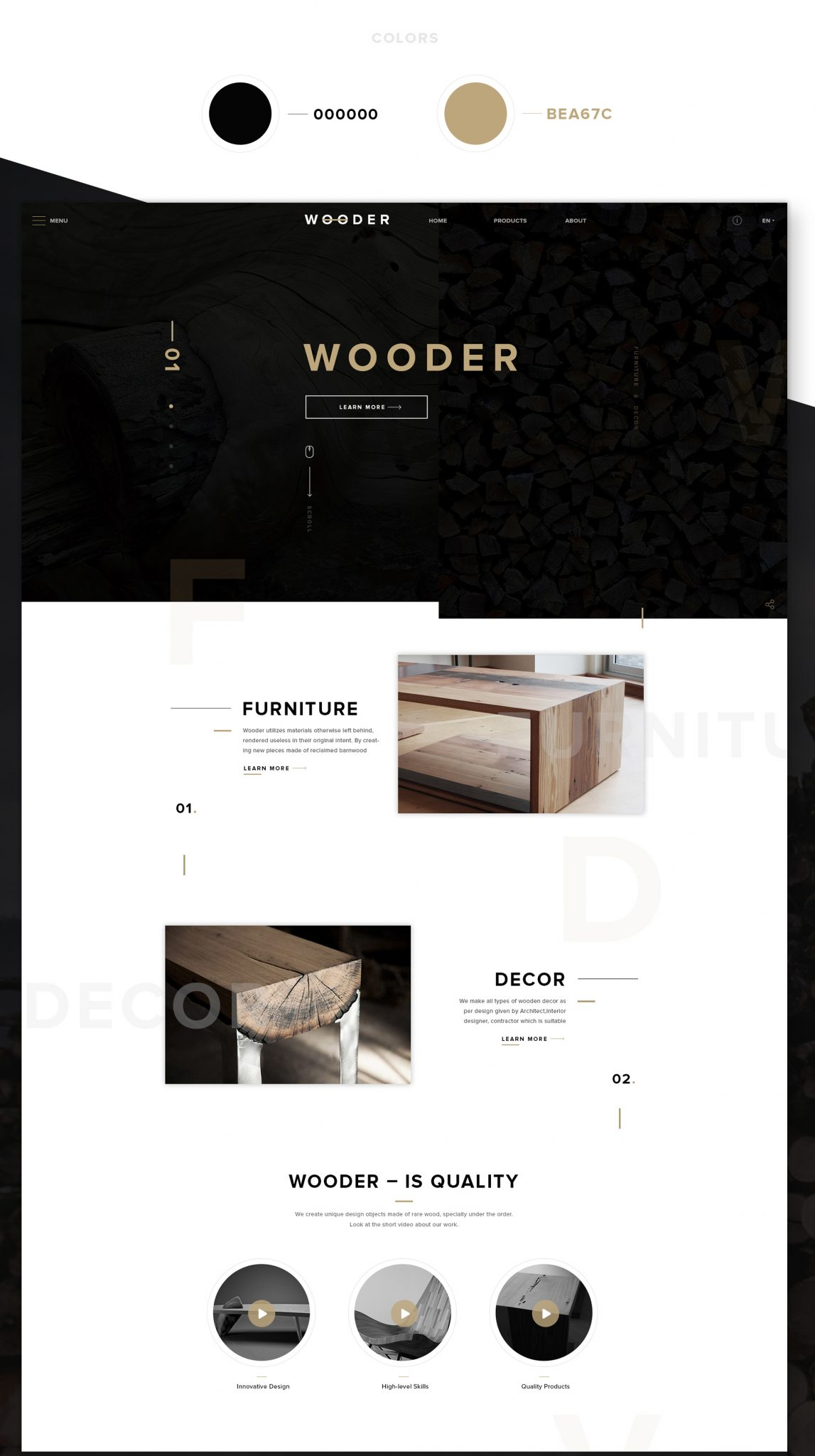 WOODER Free PSD Website Template for Wood Furniture Company