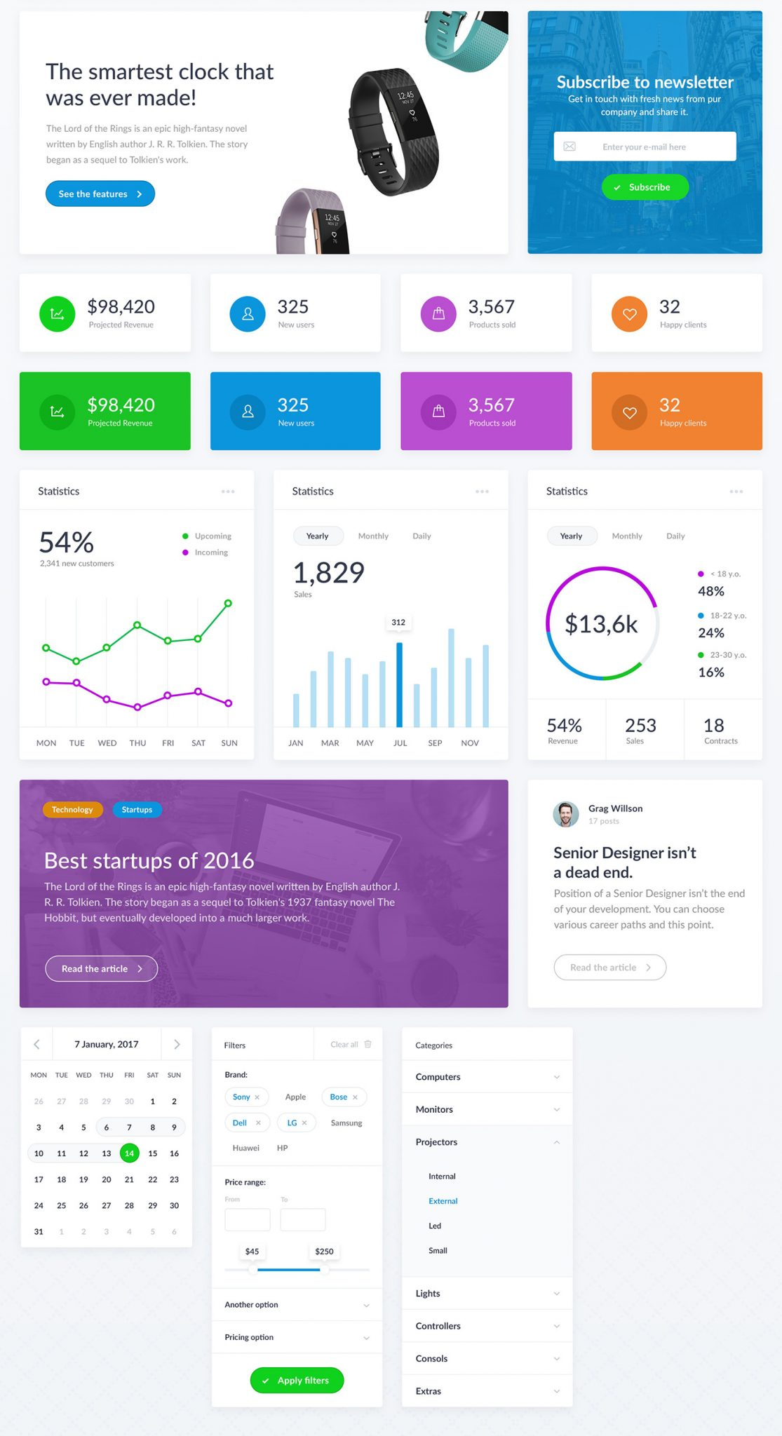 Web UI Kit - Free Chart, Diagrams, Landing Pages - Freebie Kit