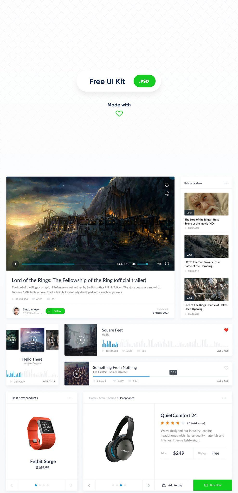 Free Website UI Kit - Sliders, Feature images, categories - freebie