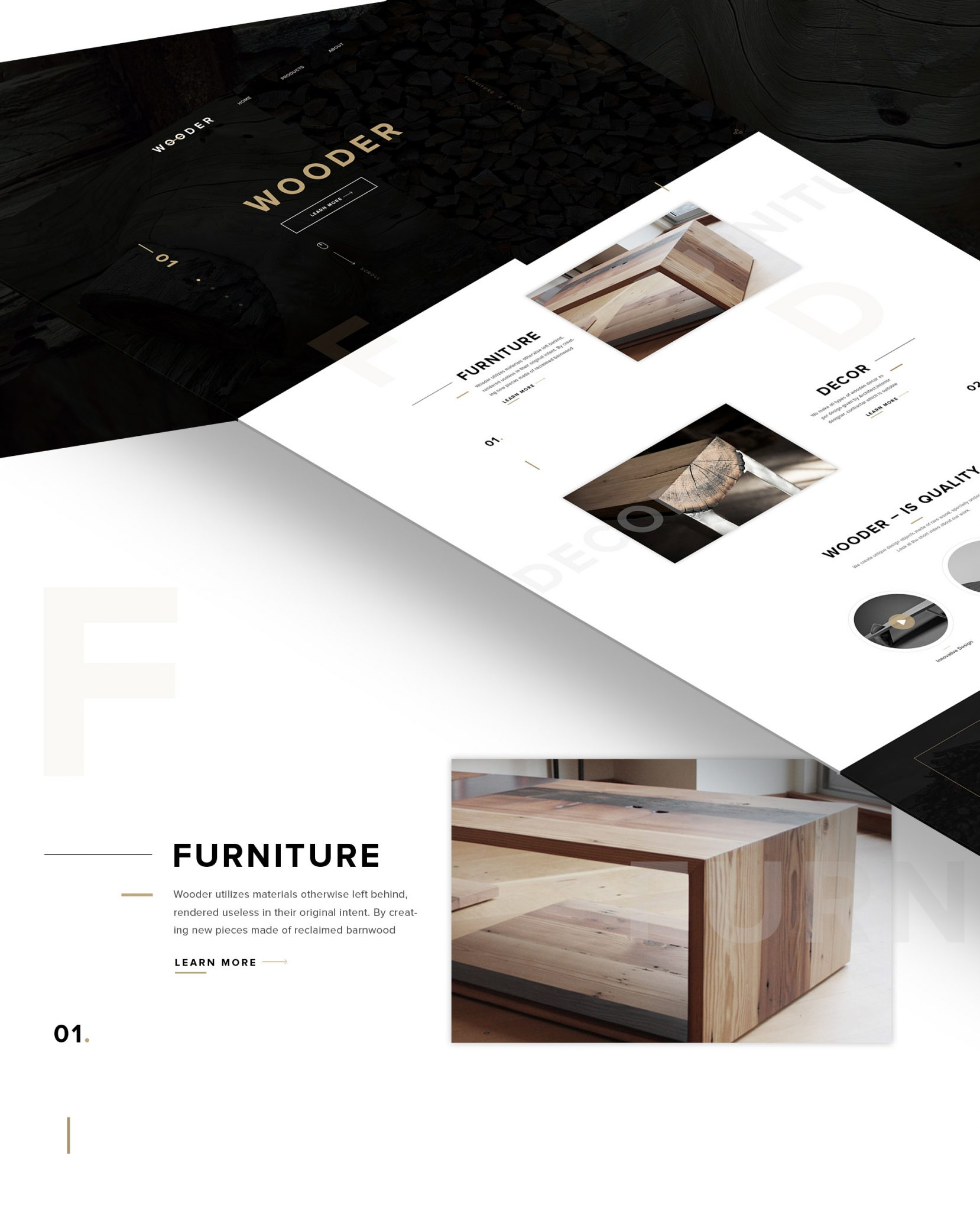 Clean and minimal furniture company wesite