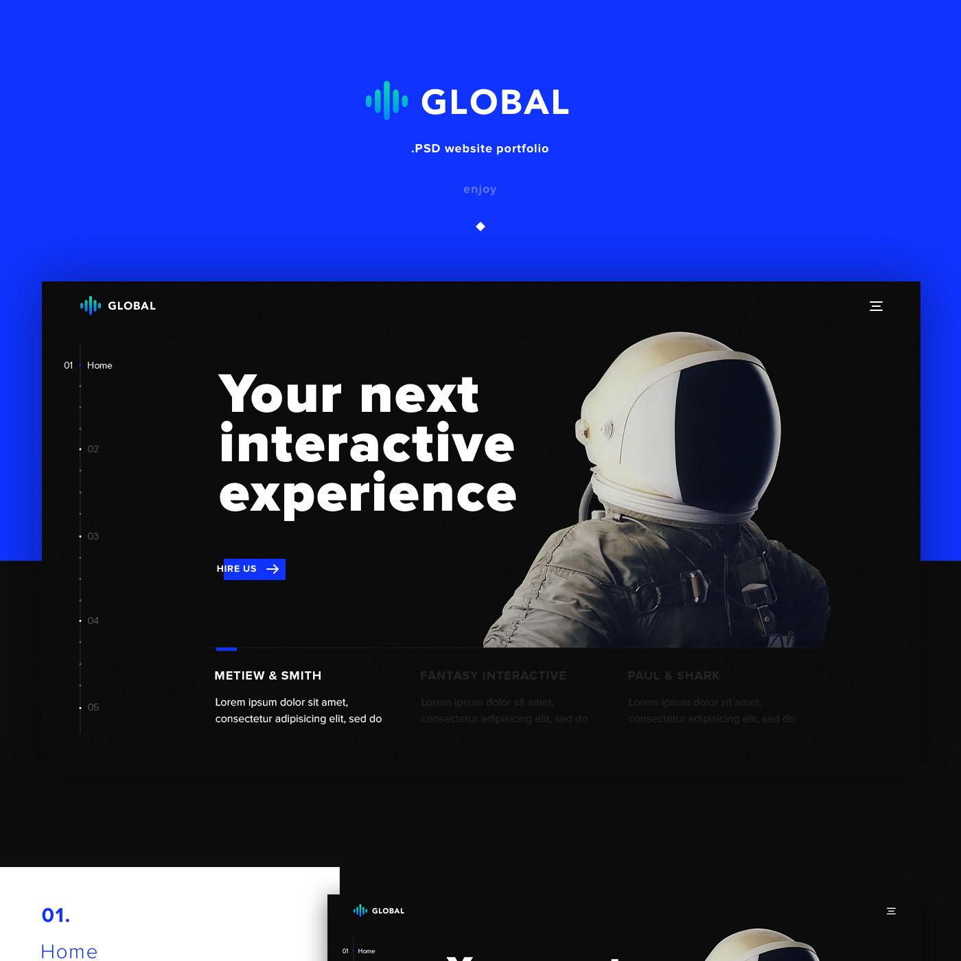 Global - Free Portfolio Photoshop Template - Dark