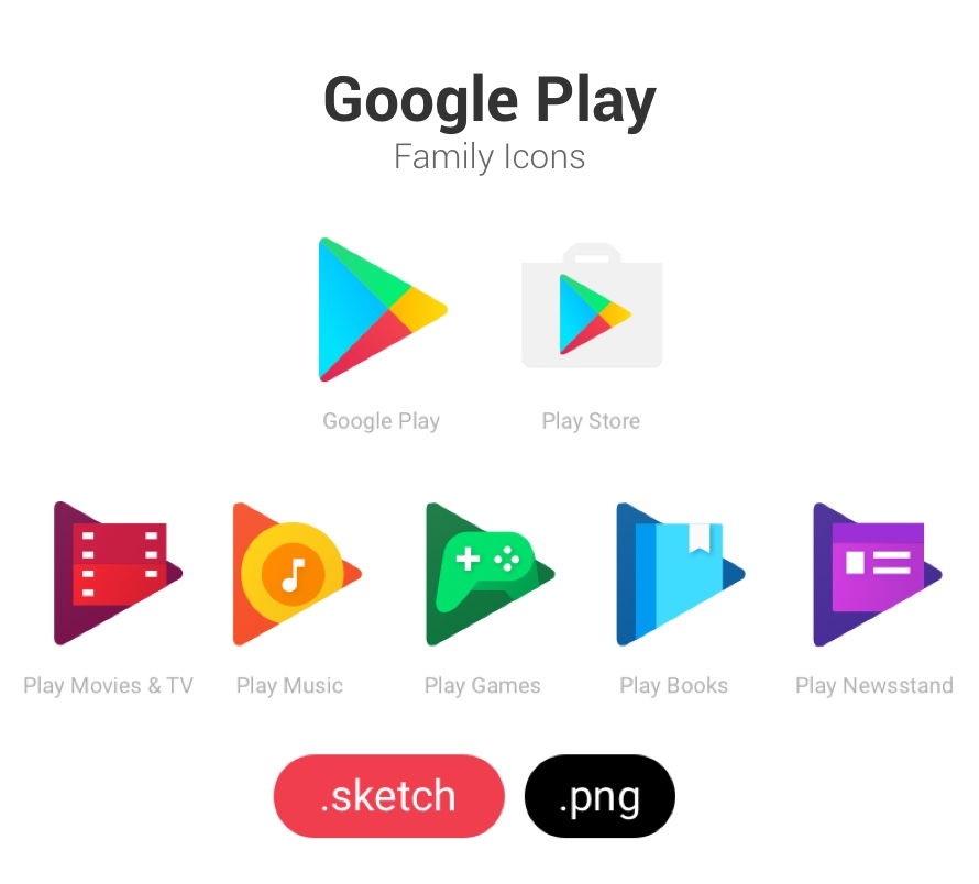 Google Play Family Icons for Sketch and PNG