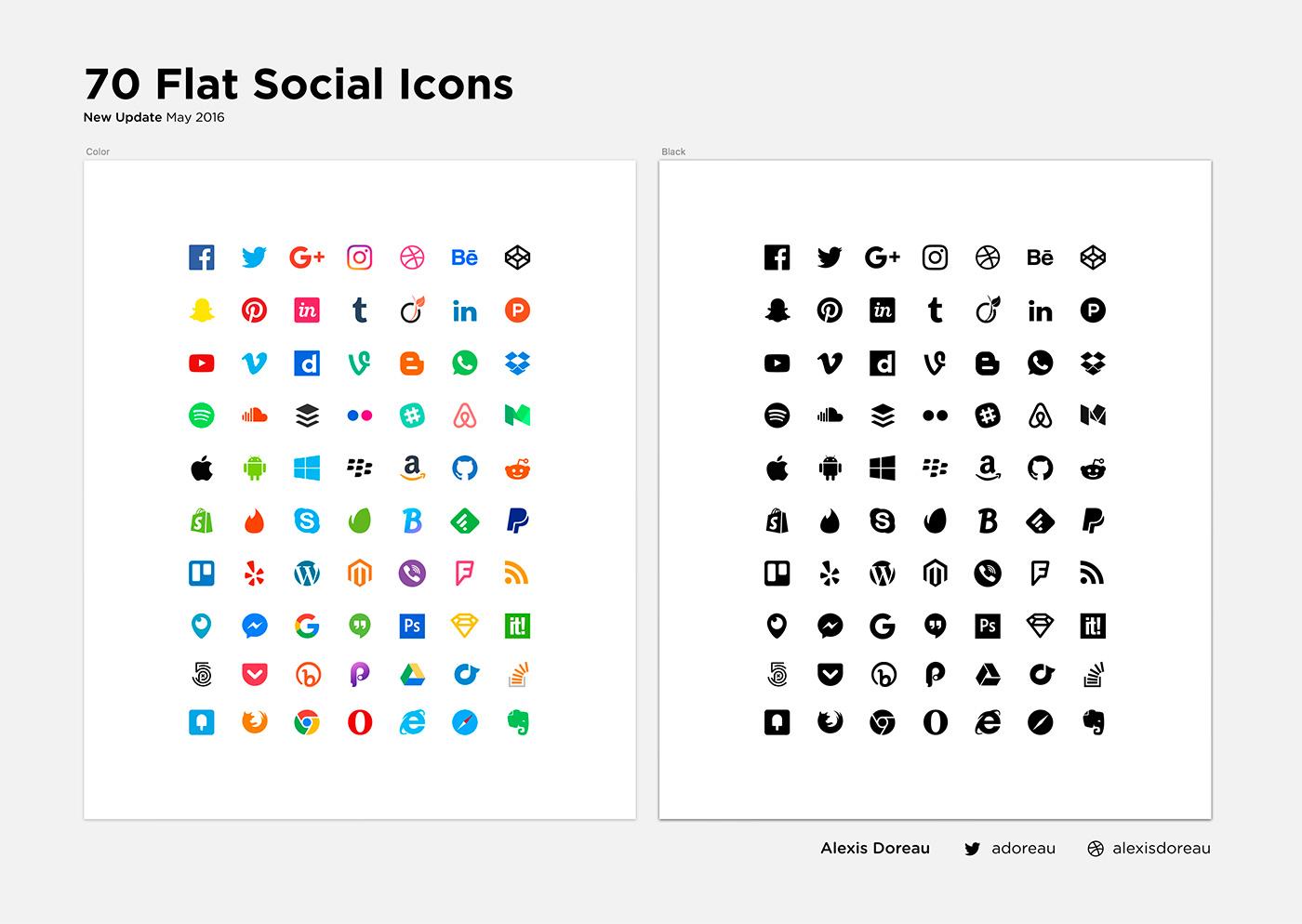 Flat Design Popular Social Media Iconset Freebie