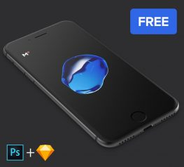 Black iPhone 7 Mockup Freebie for PSD and Sketch