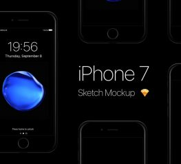 iPhone 7 Jet Black Mockup for Sketch