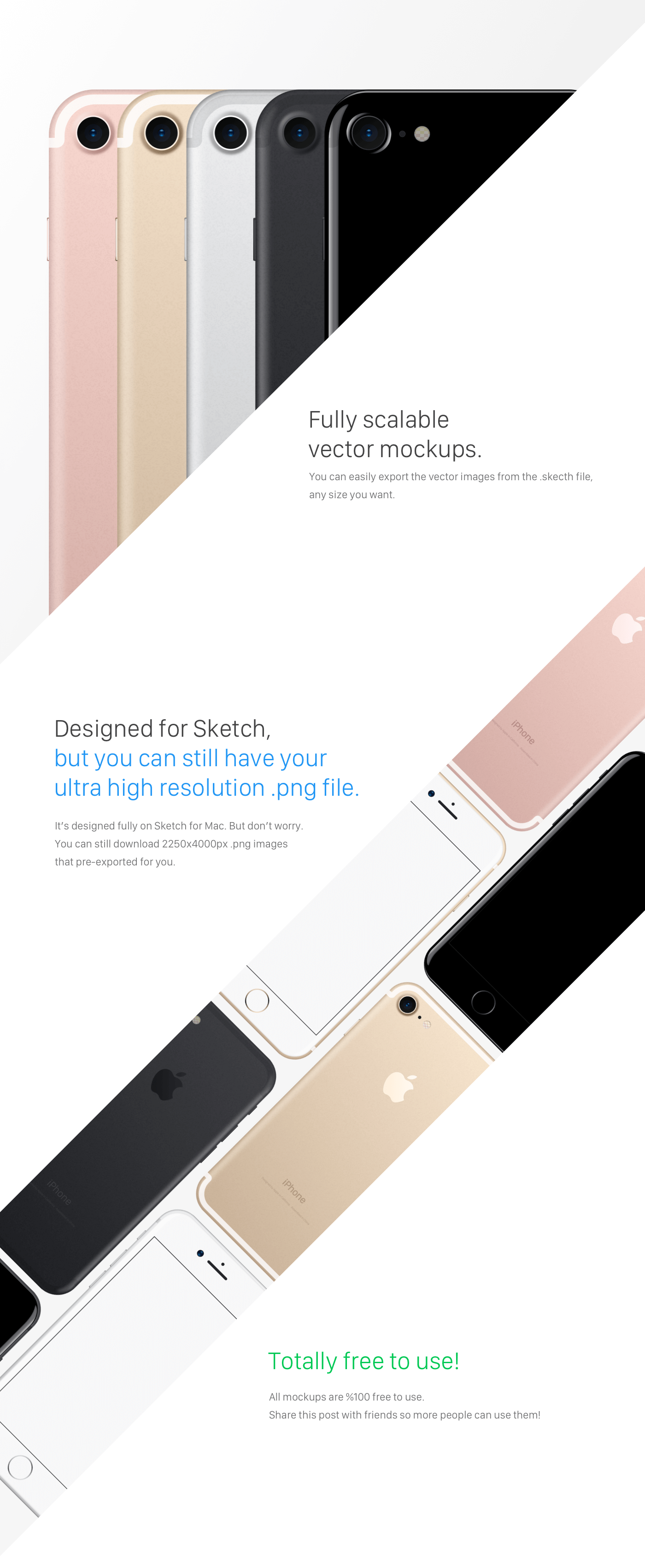 Fully scalable vector mockups - iPhone 7 Mockups All Colors