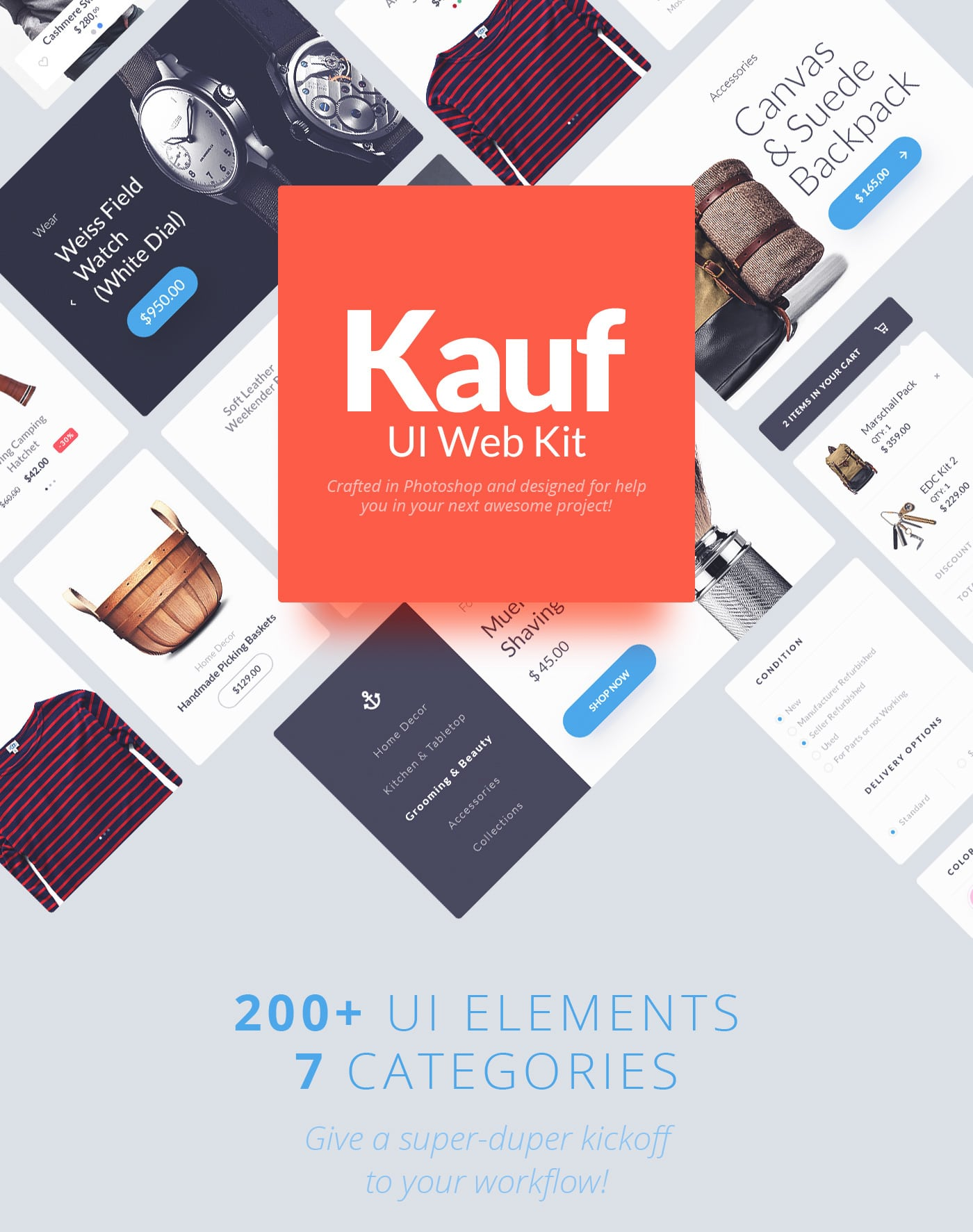 Kauf UI Web Kit - PSD Resource - 200 ui elements - 7 categories