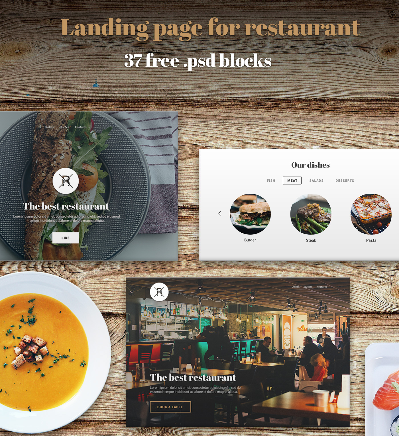 Landing Page for web - restaurant ui kit