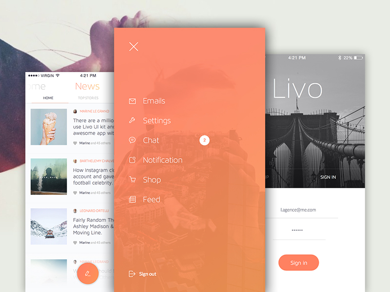 Livo App design Kit freebie