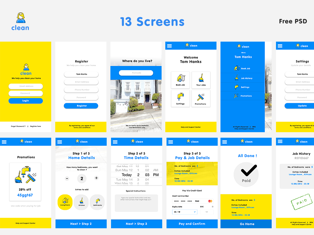 13 Free PSD Screens for Cleaning App for Free