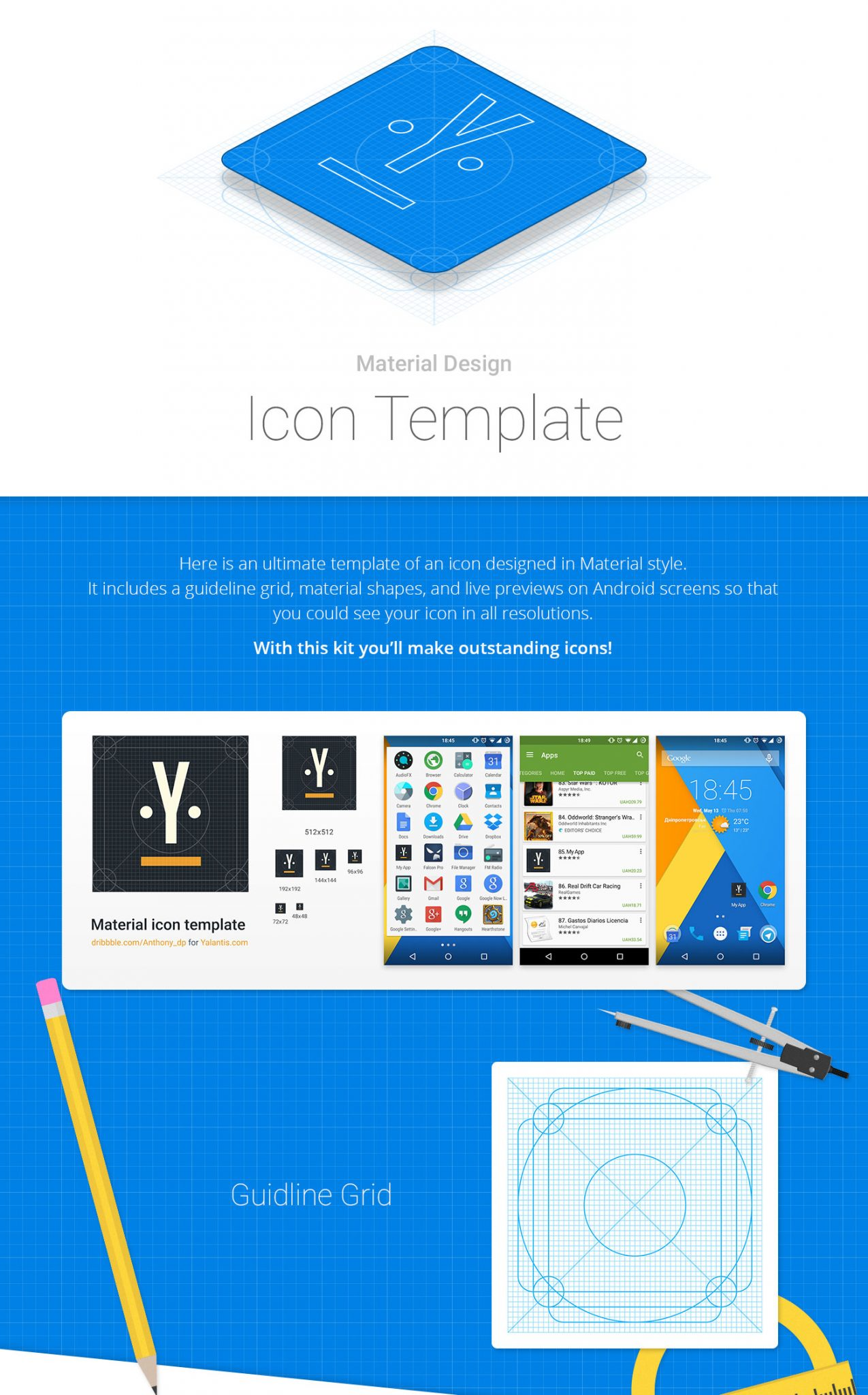 Android Material Design Icon Template for Google Play - FreebiesUI