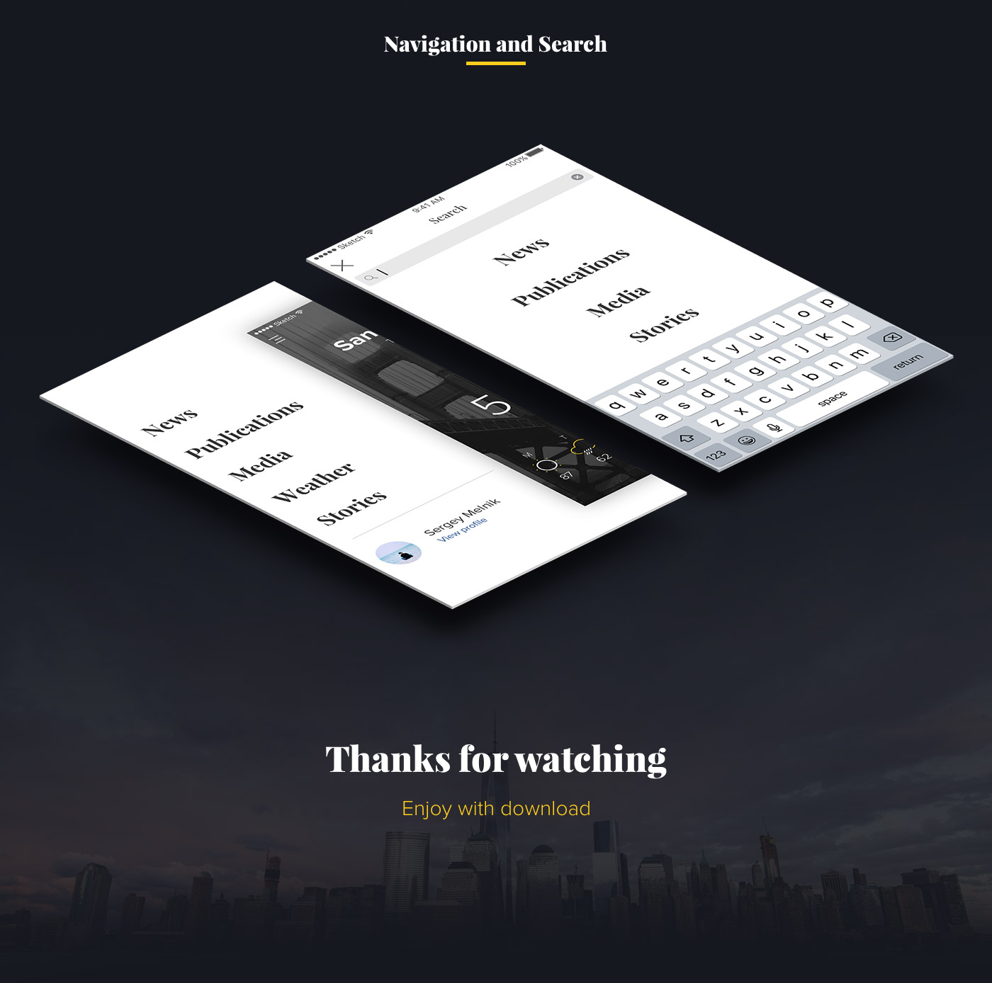 Dark Theme News and Media App design for sketch and iOS 9
