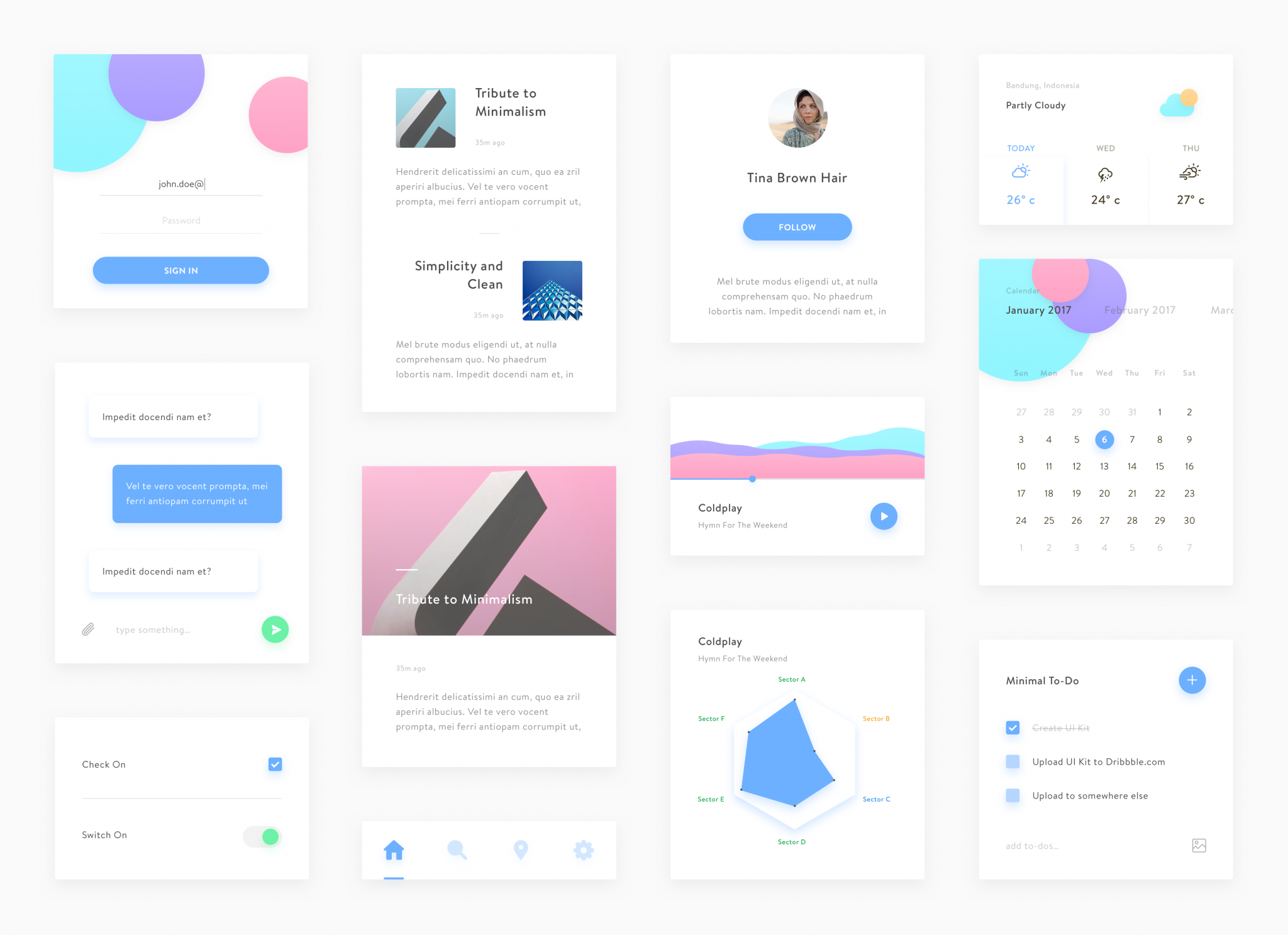 Web Minimal UI Kit for Sketch