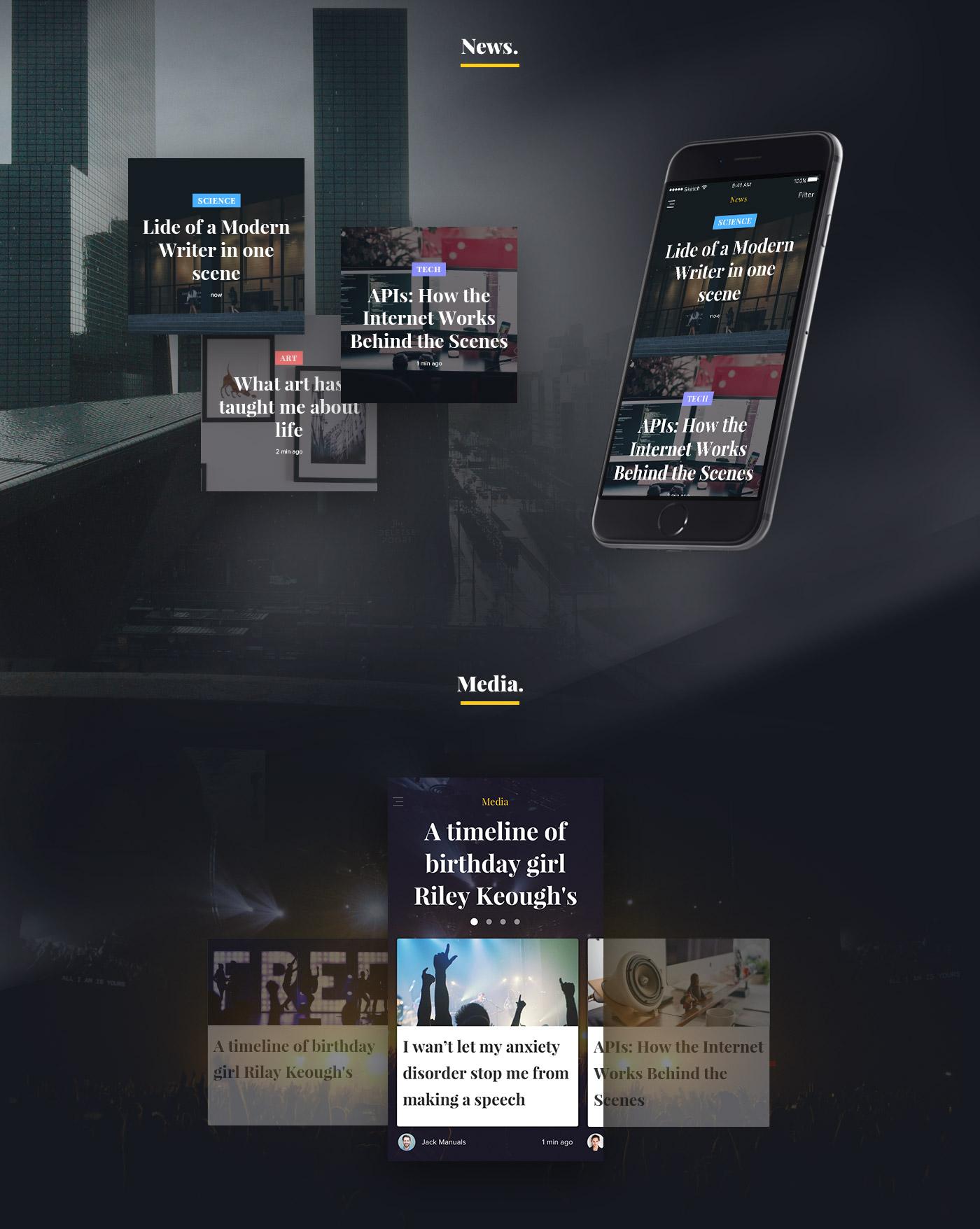 News/Media App design concept for sketch - free