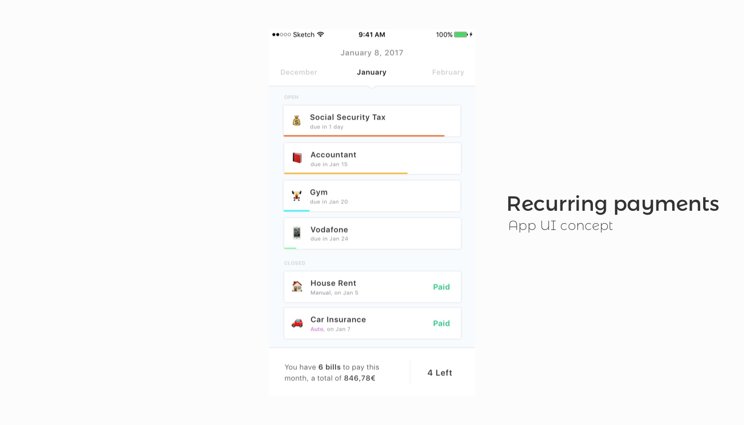 Money app UI Kit concept  for Sketch