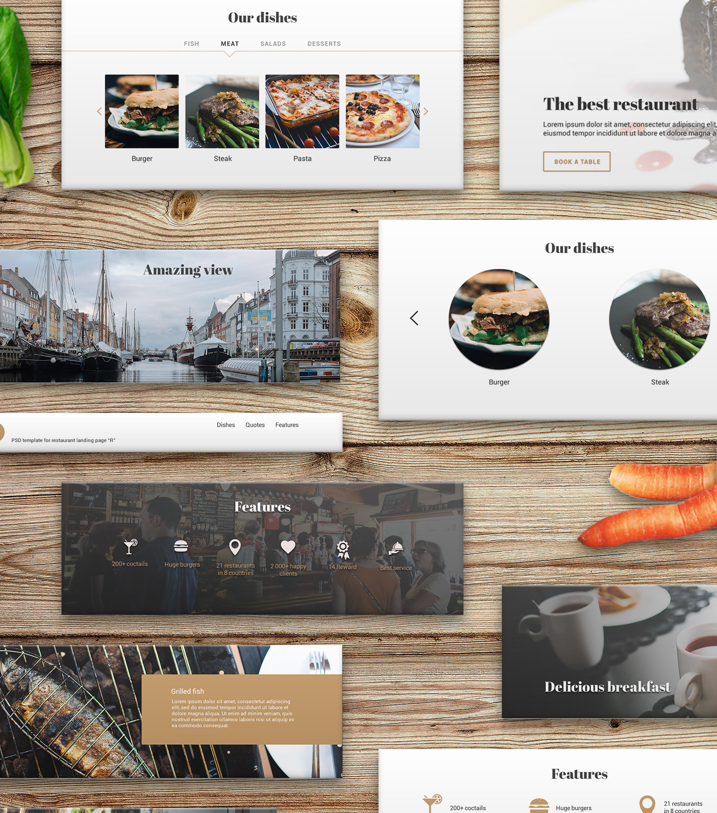 Psd blocks restaurant landing page freebiesui