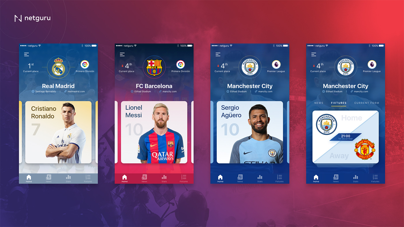 Barselona, Real Madrid, Man City Sport UI Kit App Design Free
