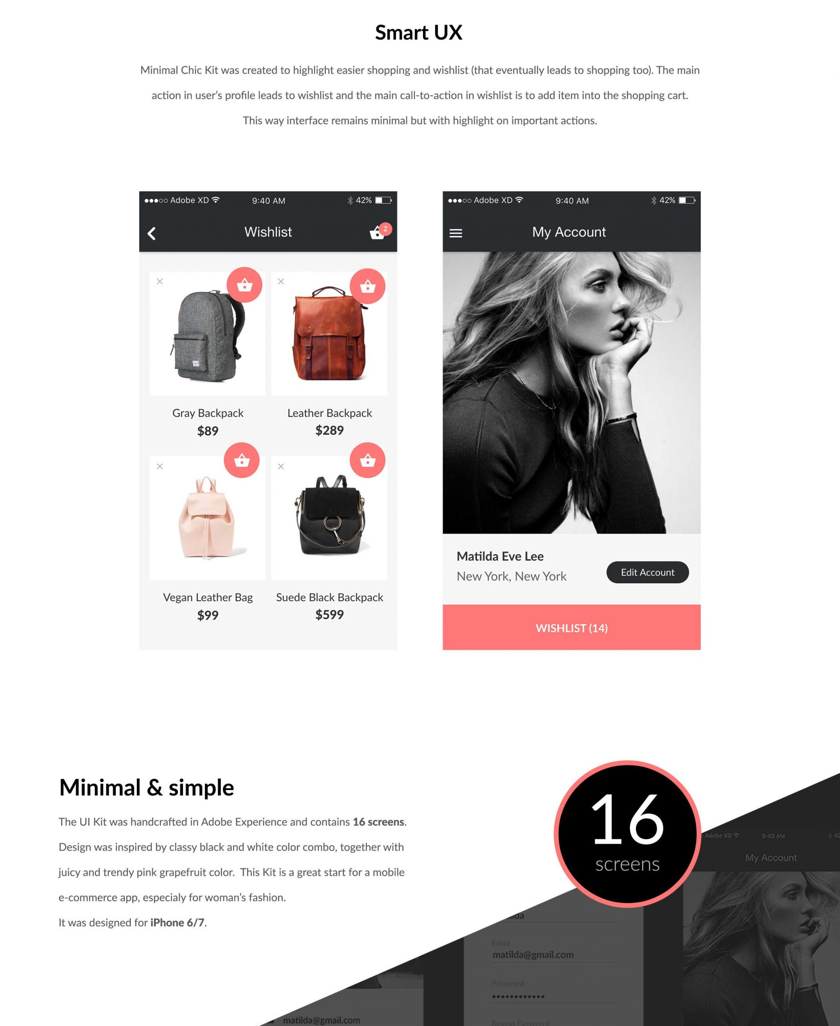 Shopping and whilst mobile interface for iOS and XD