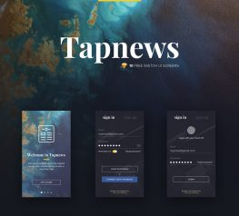 Tapnews - Free UI App design for Sketch - 10 Screens