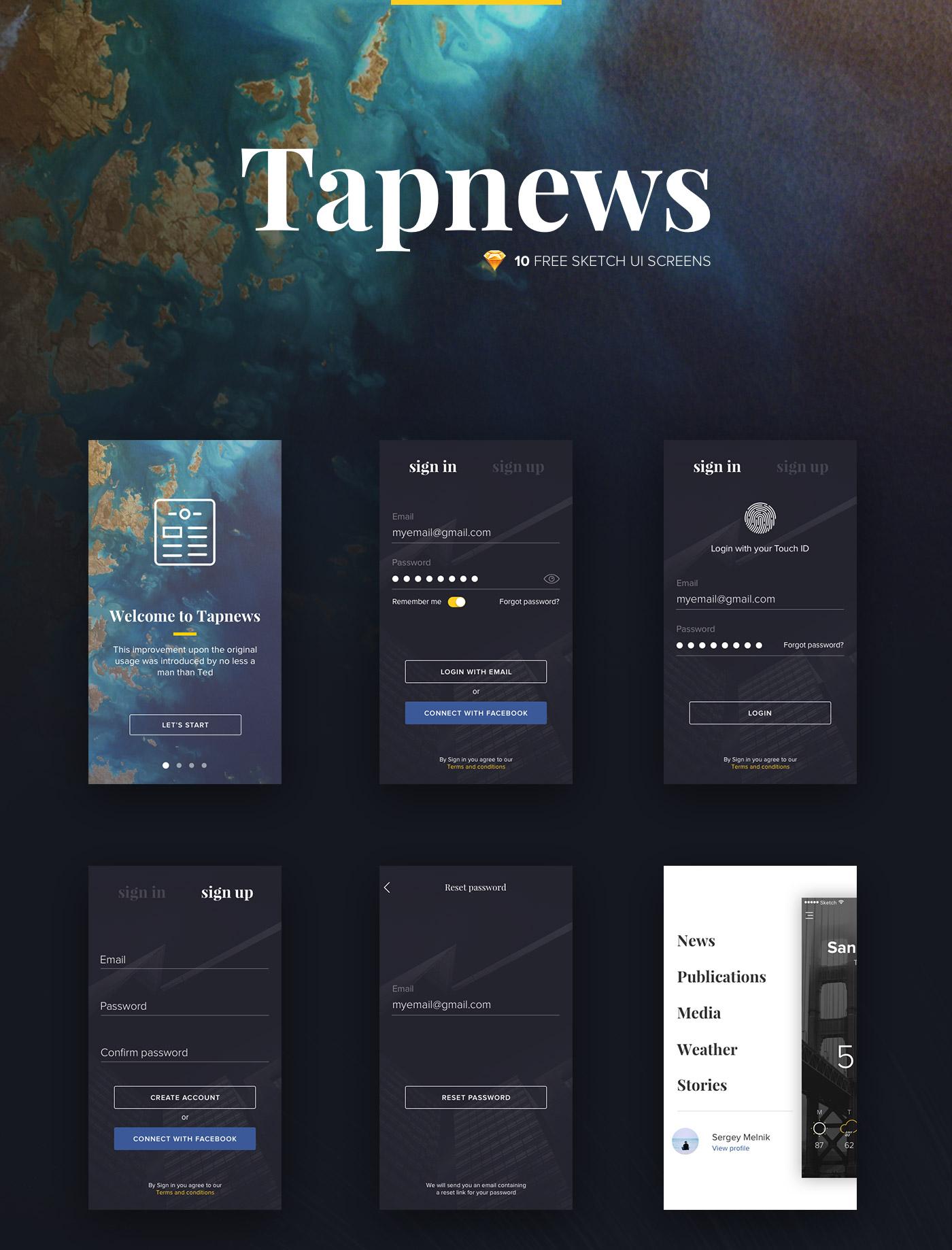 Tapnews - 10 UI Screens for Sketch