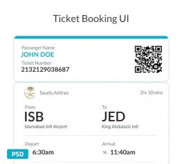 Free UI Ticket Booking Screen in PSD