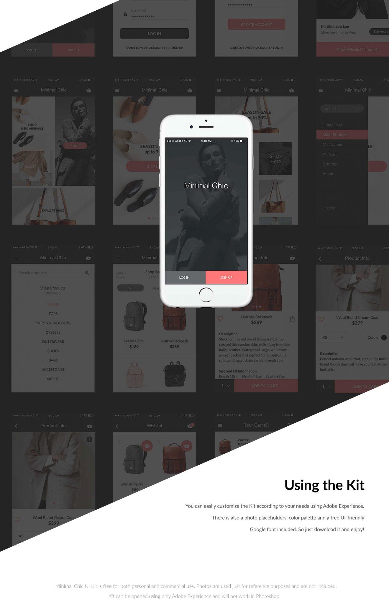 Good readability, Minimal Design, Easy to edit XD freebie for iOS