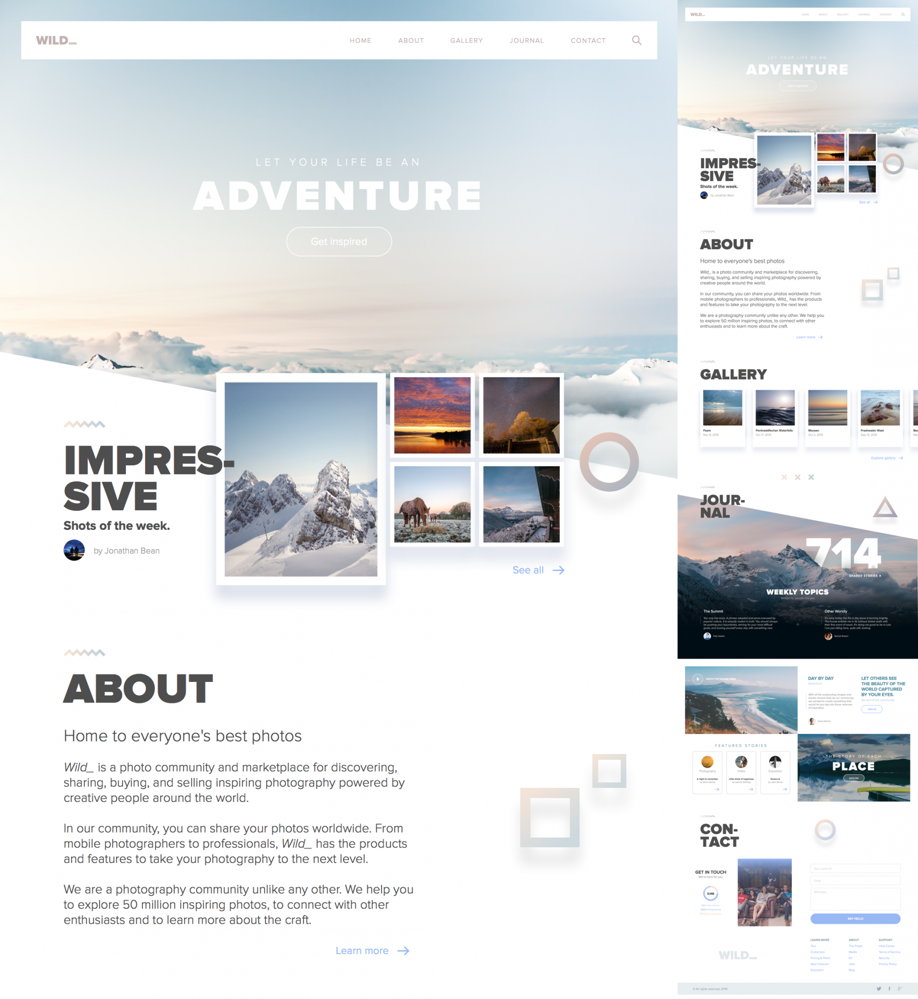 website template for sketch - Journey, Adventure, Wild