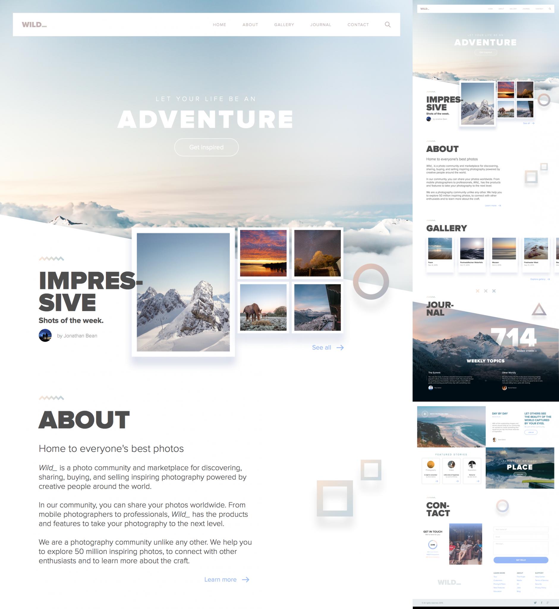 website template for sketch - Journey, Adventure, Wild