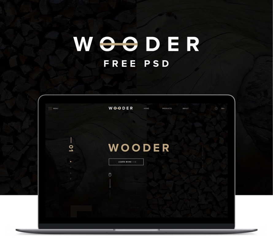 wooder free psd website template for wood furniture company freebiesui. Black Bedroom Furniture Sets. Home Design Ideas